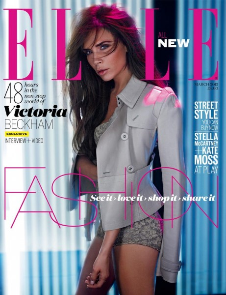 Victoria Beckham Smolders in Burberry on Elle UK's March 2013 Cover