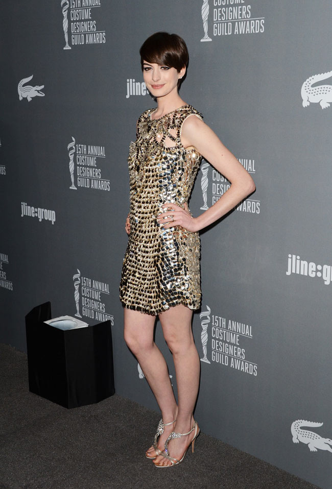 Anne Gucci2 Anne Hathaway in Gucci at the 15th Annual Costume Designers Guild Awards