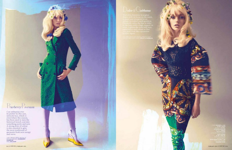 Charm9 800x518 Abbie Heath Gets 60s Chic For the February Cover Story of LOfficiel Singapore