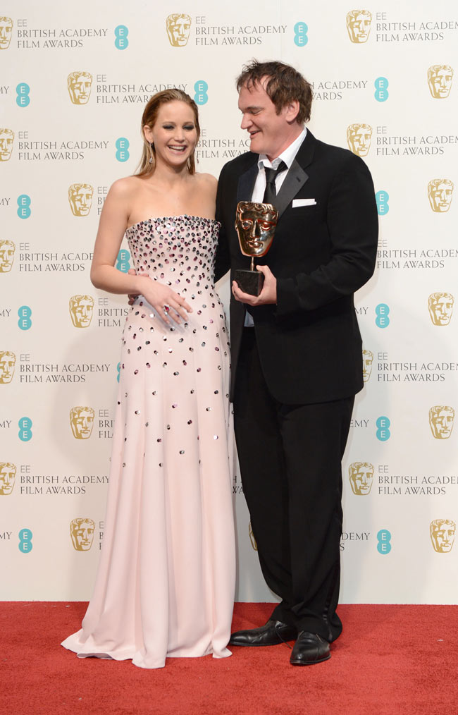 Jennifer Bafta2 Jennifer Lawrence in Dior Haute Couture at the 2013 BAFTA Awards