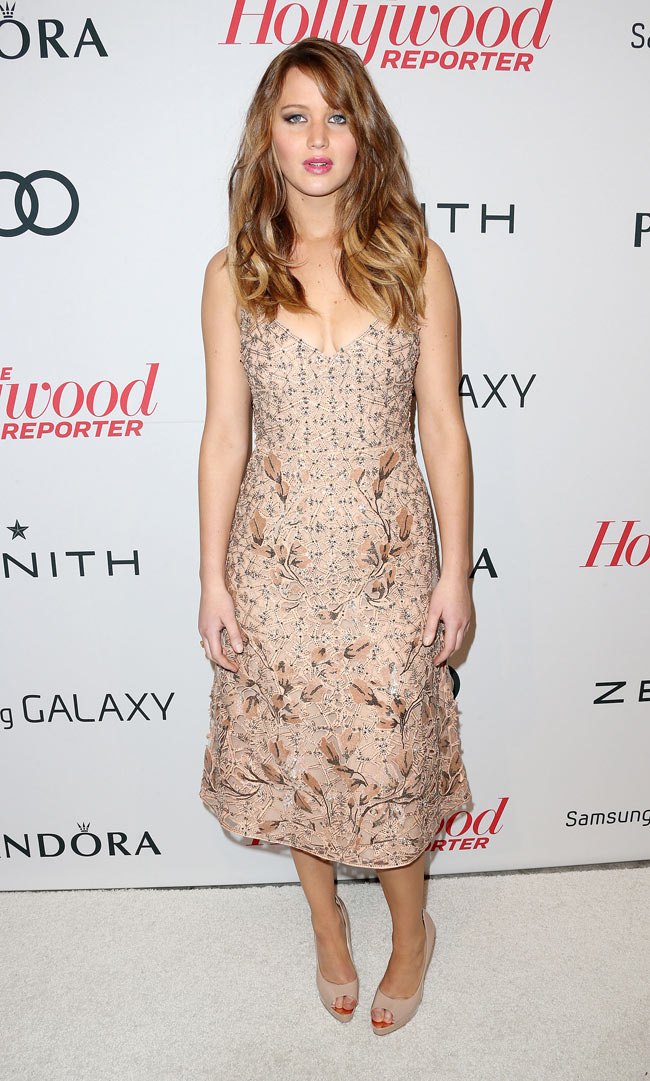 Jennifer LA1 Jennifer Lawrence in Valentino at The Hollywood Reporter Nominees Night 2013