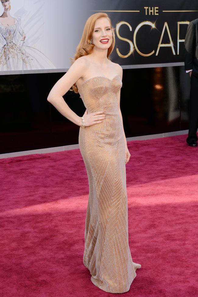 Jessica Armani1 Jessica Chastain in Armani Prive at the 85th Annual Academy Awards