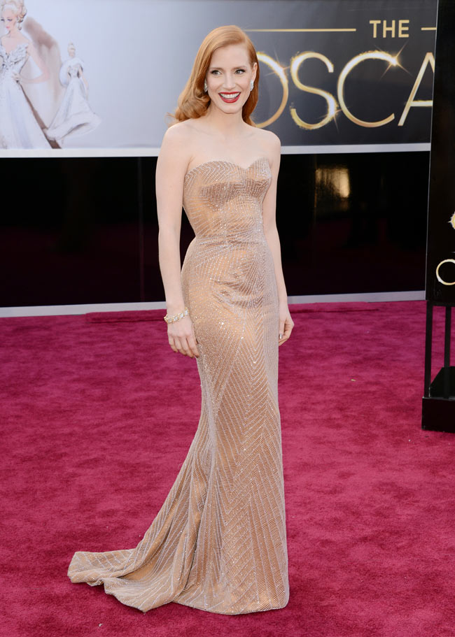 Jessica Armani2 Jessica Chastain in Armani Prive at the 85th Annual Academy Awards