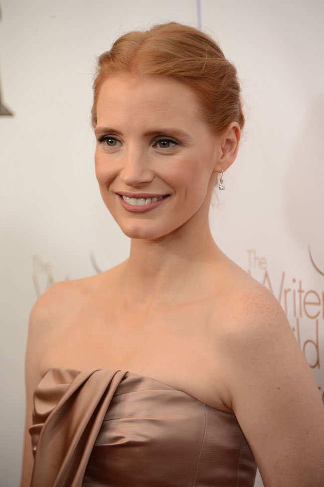 Jessica Dior2 Jessica Chastain in Dior at the 2013 Writers Guild West Coast Awards