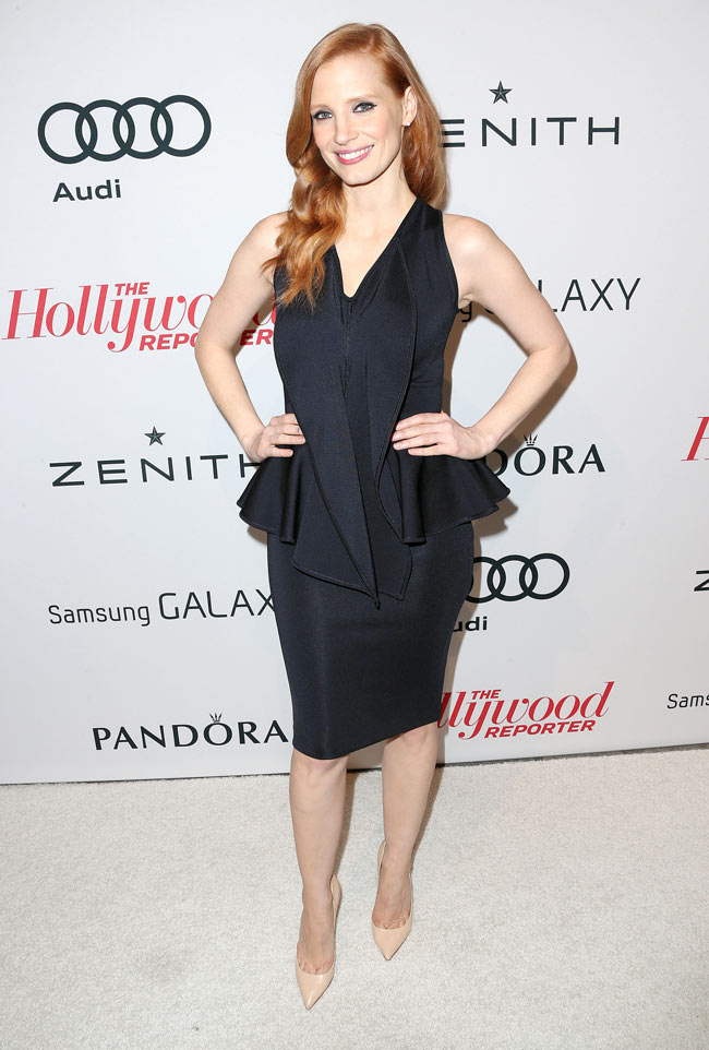 Jessica Givenchy1 Jessica Chastain in Givenchy at The Hollywood Reporter Nominees' Night 2013