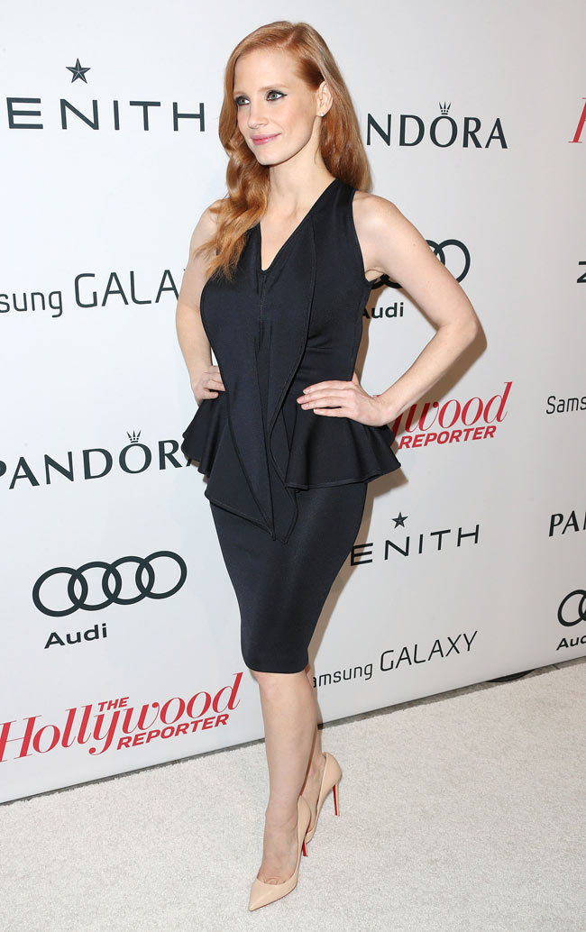 Jessica Givenchy2 Jessica Chastain in Givenchy at The Hollywood Reporter Nominees' Night 2013