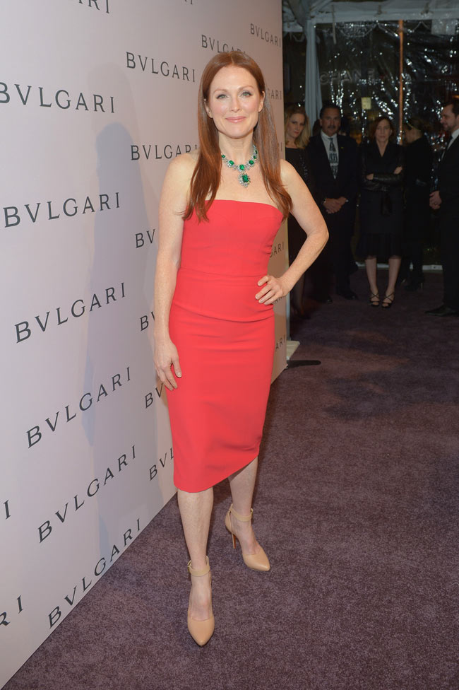 Julianne LA1 Julianne Moore in Alexander McQueen at Bulgari Celebrates Elizabeth Taylors Collection