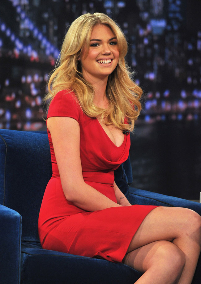 Kate Upton in Alexander McQueen at Late Night with Jimmy Fallon