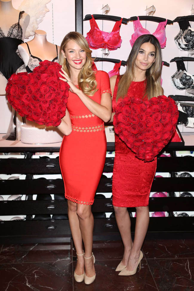 Lily Candice NYC1 Candice Swanepoel and Lily Aldridge Celebrate Valentines at Victoria's Secret Herald Square Store