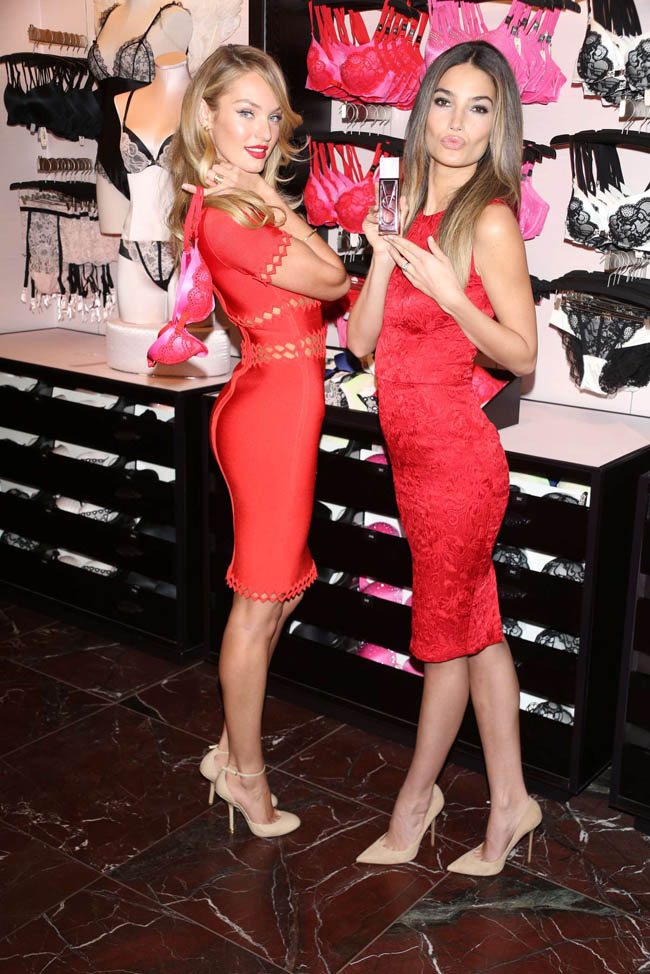 4909a3ad54a Candice Swanepoel and Lily Aldridge Celebrate Valentine s at Victoria s  Secret Herald Square Store