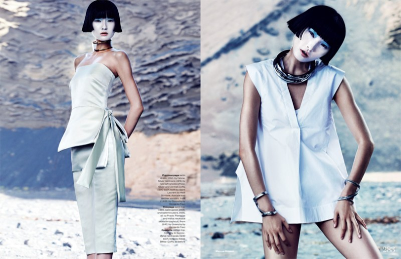 wang xiao dons futuristic style for elle uk march 2013 by
