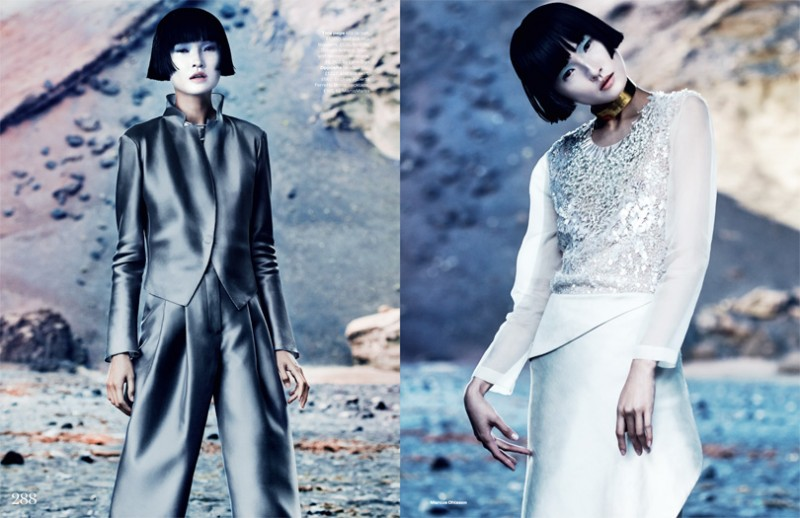 MO elleminimal 11 800x518 Wang Xiao Dons Futuristic Style for Elle UK March 2013 by Marcus Ohlsson