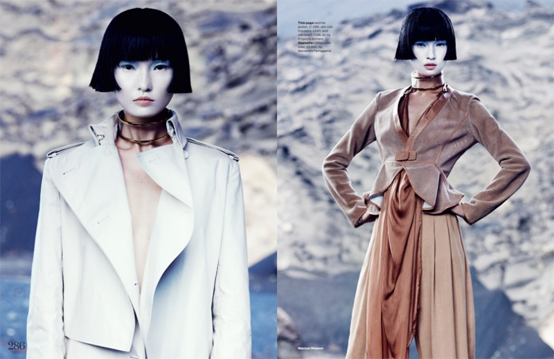 MO elleminimal 12 800x518 Wang Xiao Dons Futuristic Style for Elle UK March 2013 by Marcus Ohlsson