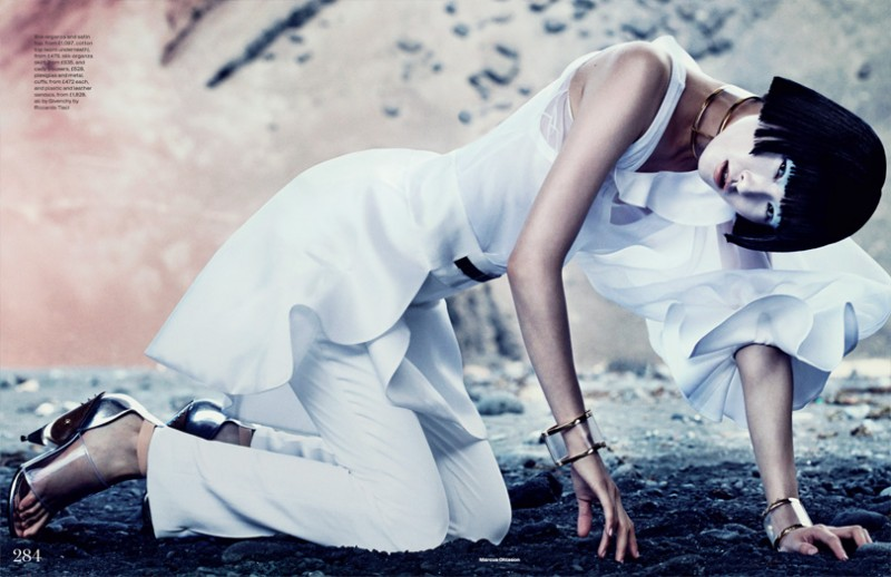 MO elleminimal 3 800x518 Wang Xiao Dons Futuristic Style for Elle UK March 2013 by Marcus Ohlsson