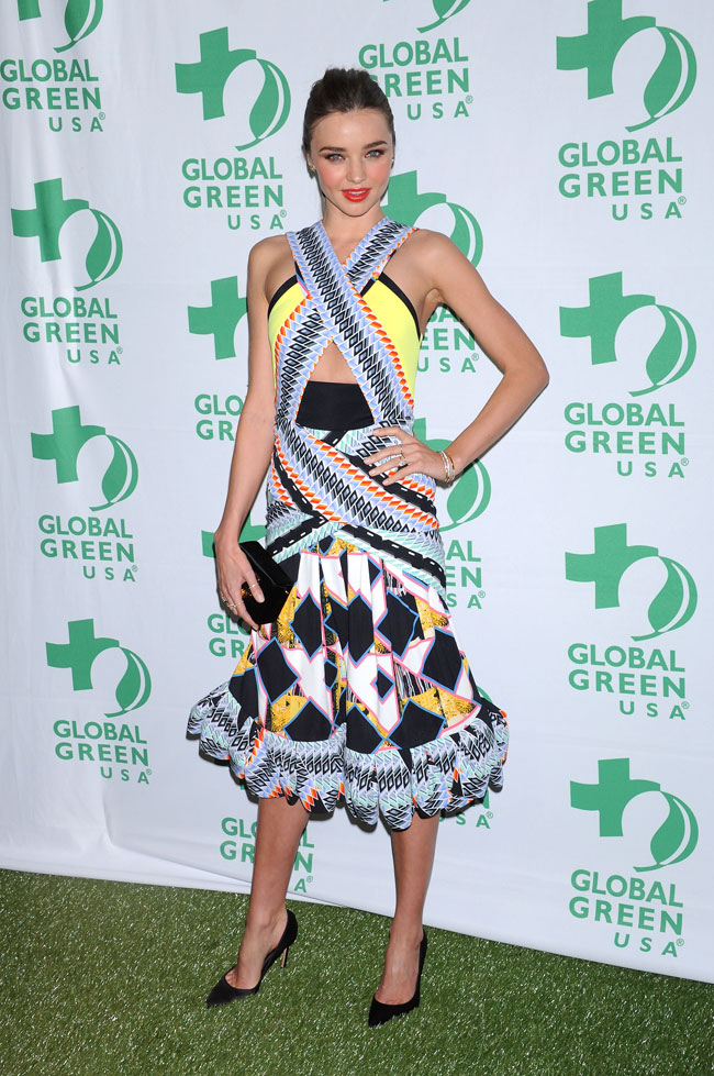 Miranda Peter2 Miranda Kerr in Peter Pilotto at the 10th Annual Global Green USA Pre Oscar Party