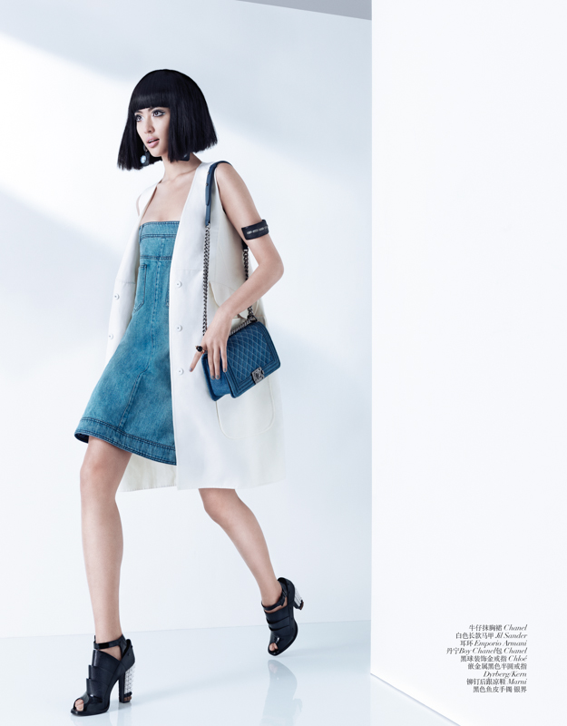 Bonnie Chen Rocks Denim in Vogue China's March Issue by Stockton Johnson