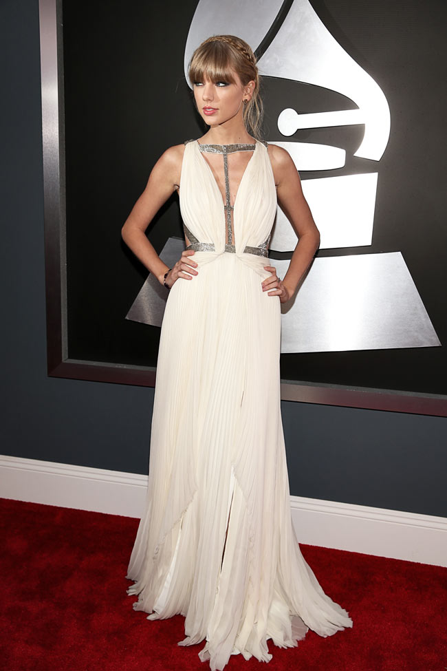 Swift Grammys1 Taylor Swift in J. Mendel at the 55th Annual Grammy Awards