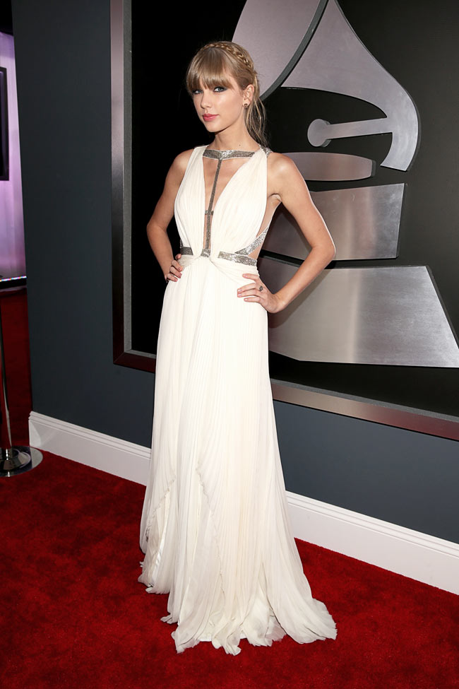 Swift Grammys2 Taylor Swift in J. Mendel at the 55th Annual Grammy Awards