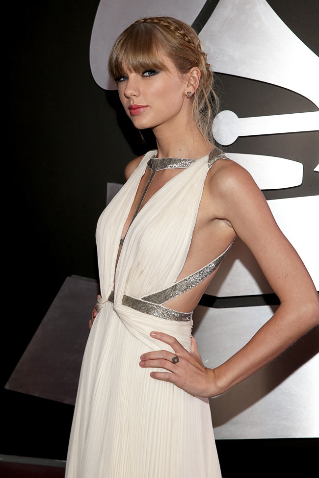 Swift Grammys3 Taylor Swift in J. Mendel at the 55th Annual Grammy Awards