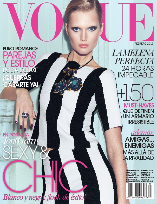 Toni Garrn Vogue Mexico11 Toni Garrn Sports Geometric Prints for Vogue Mexico February 2013 Cover Shoot