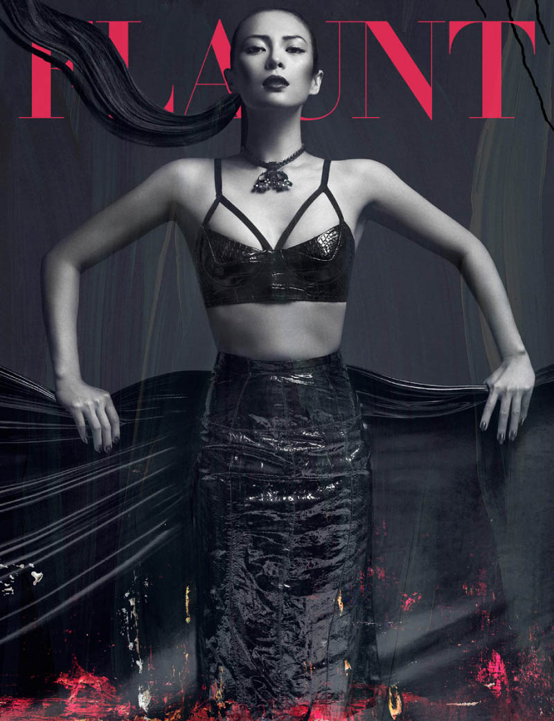 ZhangZiyi by hunterandgatti cover Zhang Ziyi Gets Painted for Flaunt Magazine by Hunter & Gatti