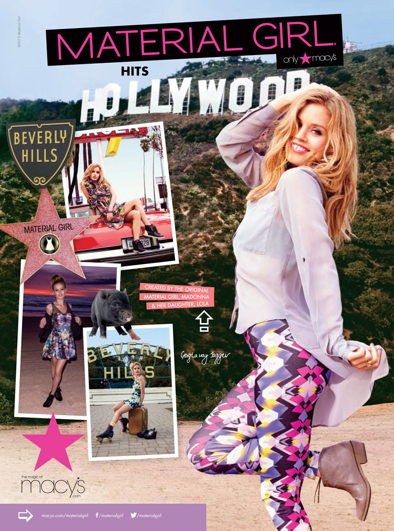 ad02 1 Georgia May Jagger Heads to Hollywood for Material Girl Spring 2013 Campaign