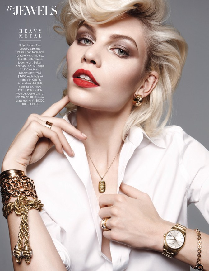 aline weber jewels2 Aline Weber Shines for Amy Troost in Harpers Bazaar US March 2013