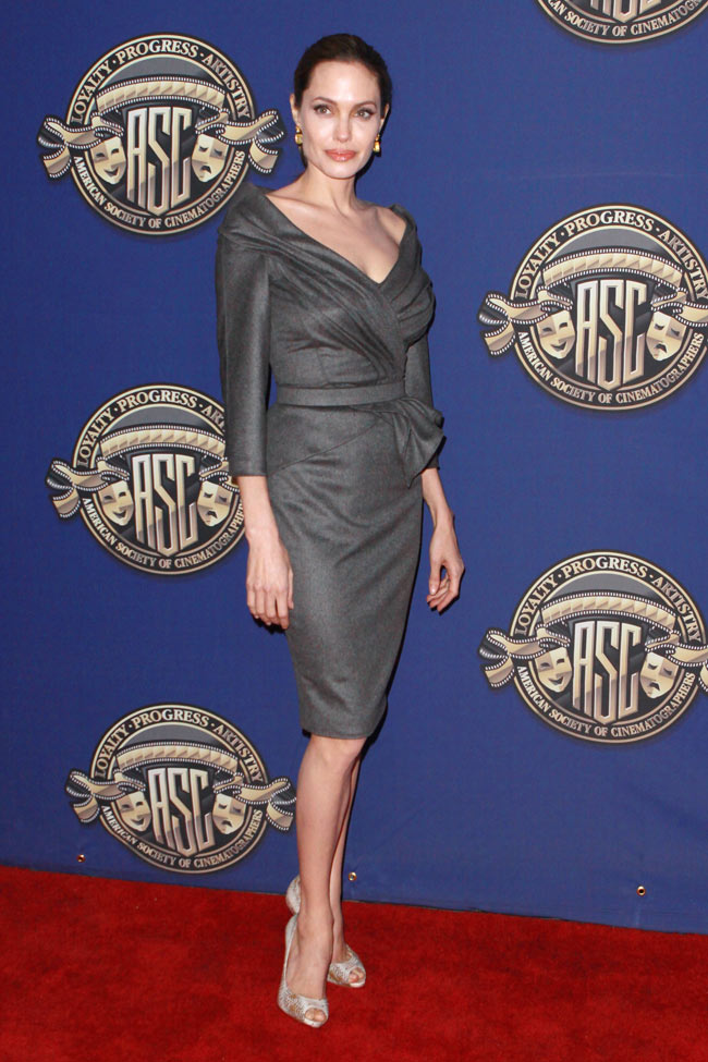 angelina jolie versace1 Angelina Jolie in Atelier Versace at the 27th American Society of Cinematographers Awards
