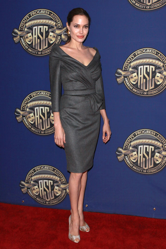 angelina jolie versace2 Angelina Jolie in Atelier Versace at the 27th American Society of Cinematographers Awards
