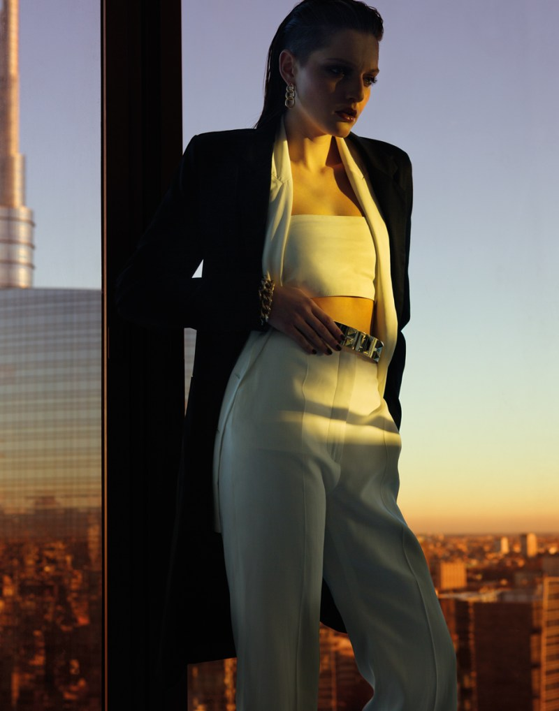 gianluca fontana notturno1 Helena Babic is Tuxedo Chic for Io Donna by Gianluca Fontana