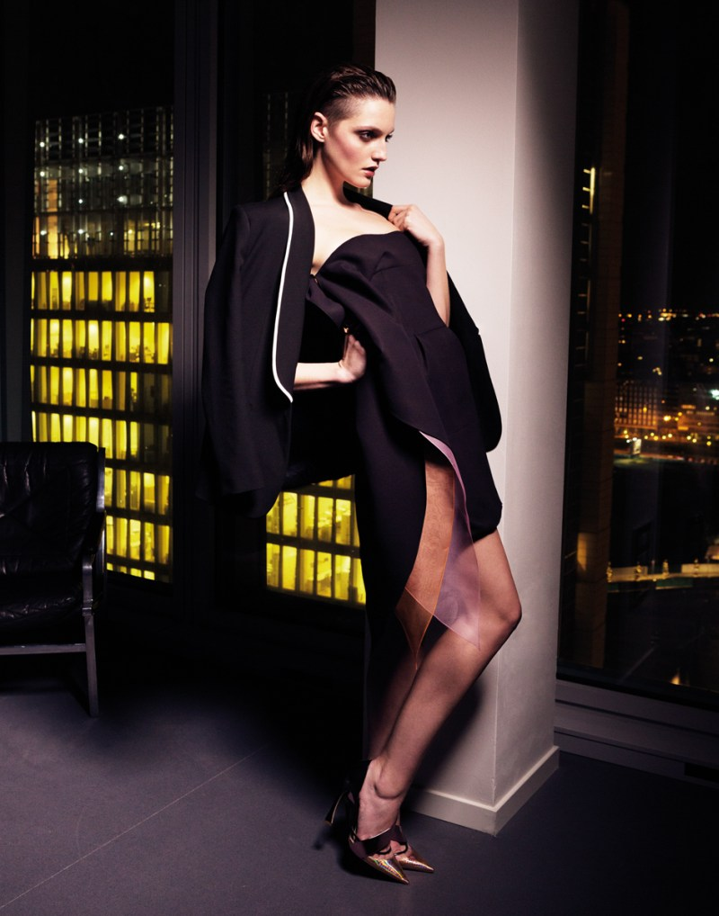 gianluca fontana notturno14 Helena Babic is Tuxedo Chic for Io Donna by Gianluca Fontana
