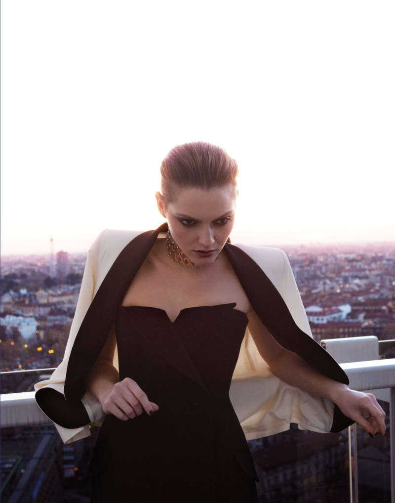 gianluca fontana notturno19 Helena Babic is Tuxedo Chic for Io Donna by Gianluca Fontana