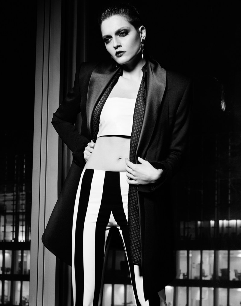 gianluca fontana notturno6 Helena Babic is Tuxedo Chic for Io Donna by Gianluca Fontana