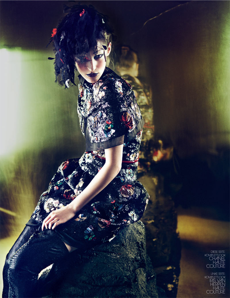 haute couture interview germany3 Franzi Mueller Dons Haute Couture for Interview Germany March 2013 by Markus Jans