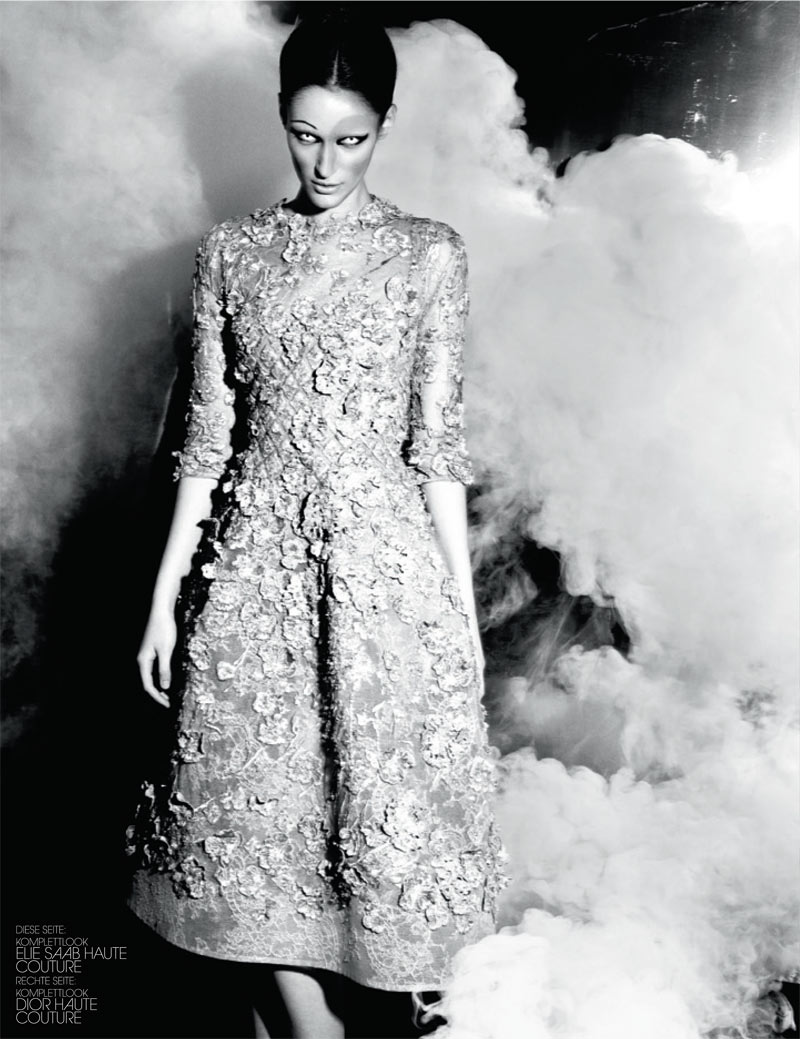 haute couture interview germany5 Franzi Mueller Dons Haute Couture for Interview Germany March 2013 by Markus Jans