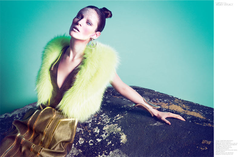 haute couture interview germany7 Franzi Mueller Dons Haute Couture for Interview Germany March 2013 by Markus Jans