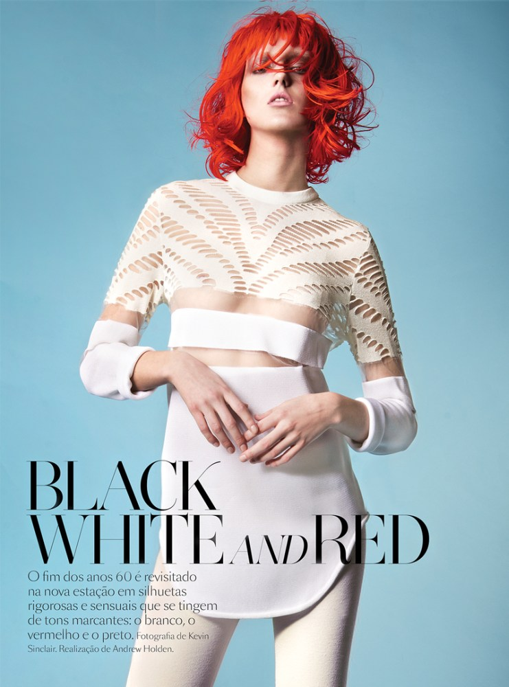 iris egbers vogue portugal1 Iris Egbers is Black, White and Red All Over for Vogue Portugal by Kevin Sinclair