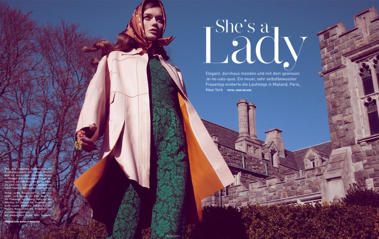 jamie nelson madame germany2 Lyoka Tyagnereva is Ladylike in Madame Germany March 2013 by Jamie Nelson