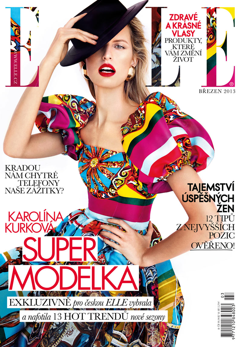 kurkova cover Karolina Kurkova Dons Dolce & Gabbana for Elle Czechs March 2013 Cover