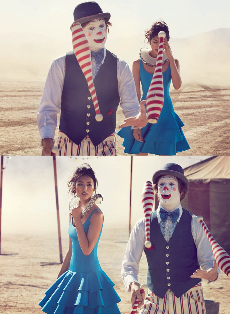 liu wen vogue australia will davidson10 Liu Wen Travels With the Circus for Vogue Australias March Issue by Will Davidson