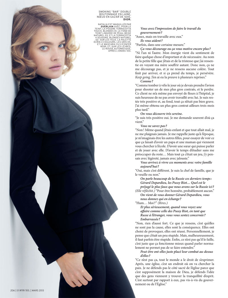 natalia vodianova lofficiel cover shoot7 Natalia Vodianova Stars in LOfficiel Paris March 2013 Cover Shoot