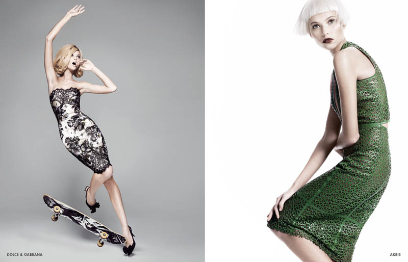 neiman marcus art of fashion11 Karlie Kloss and Vika Falileeva Front Neiman Marcus Art of Fashion Spring 2013 Campaign