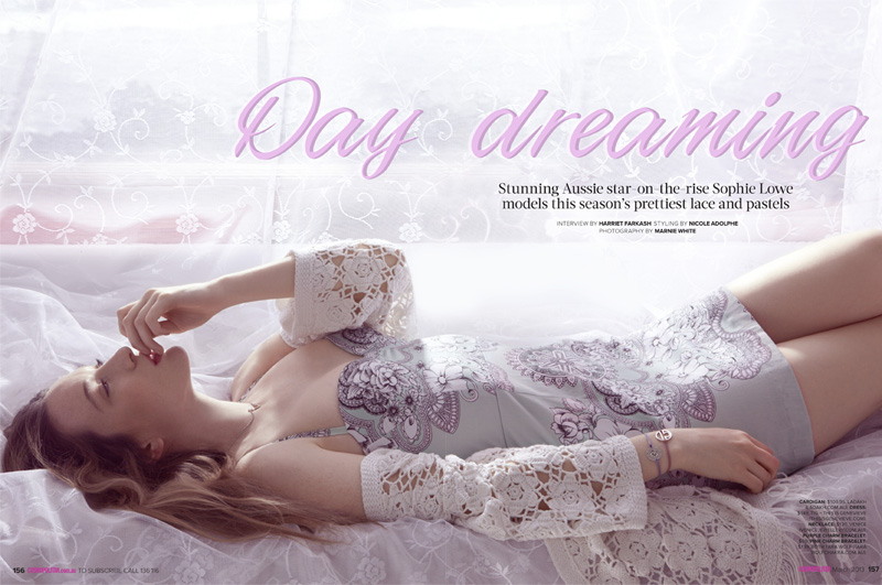 sophie lowe cosmo7 Sophie Lowe is Dreamy in Pastels for Cosmopolitan Australias March Issue