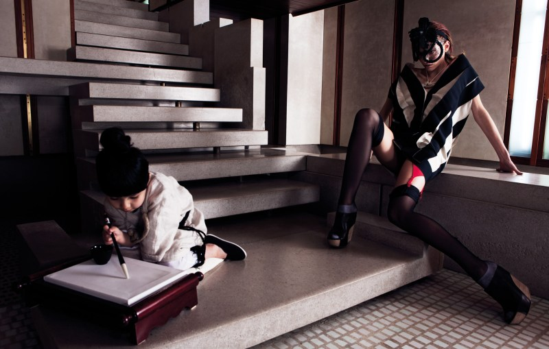 Karlina Caune and Hye Jung Lee Enchant for W Korea's March Issue by Gianluca Fontana