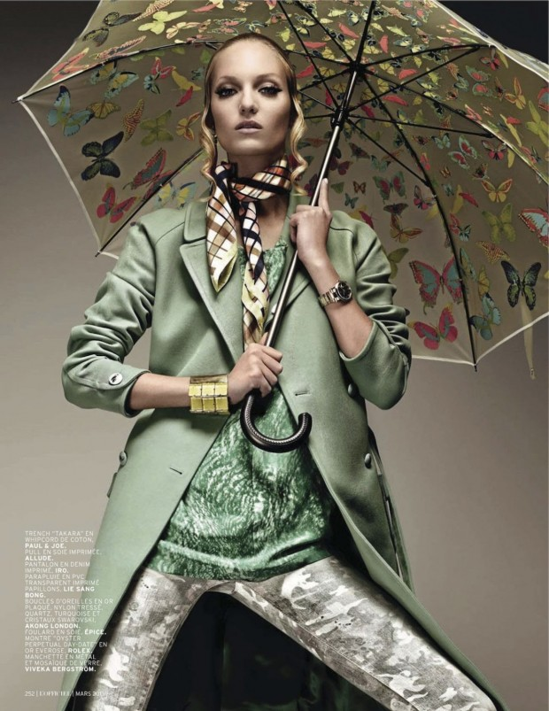 07 Theres Alexandersson Preps for Rain in LOfficiel Paris March Issue by Jonathan Segade