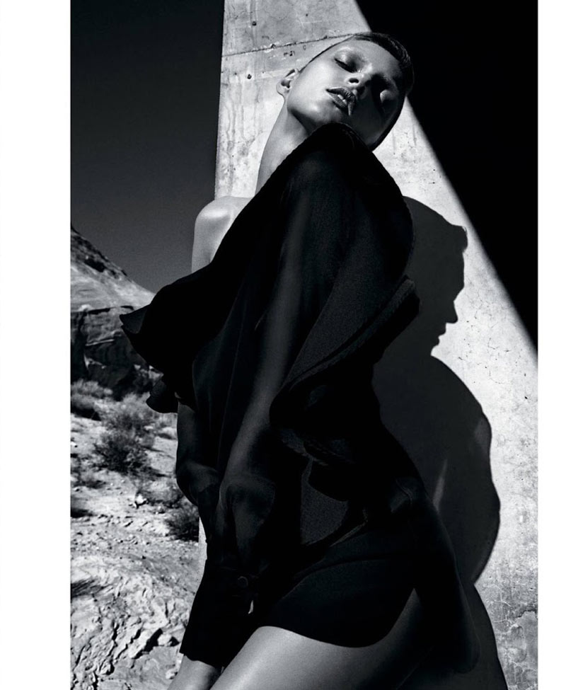 AnjaRubikTMag4 Anja Rubik Models Sleek Looks for T Magazine Spring 2013 by Mario Sorrenti