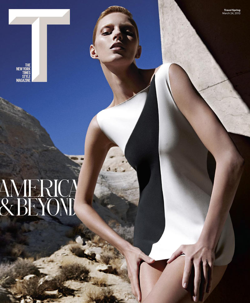 AnjaRubikTMag9 Anja Rubik Models Sleek Looks for T Magazine Spring 2013 by Mario Sorrenti