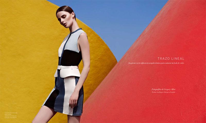 BazaarLA1 Vasilisa Pavlova Models Sleek Spring Style for Harpers Bazaar Latin America
