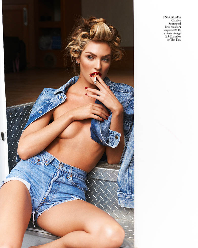 CandiceSwanepoelVogueSpain11 Candice Swanepoel is Sexy in Denim for Vogue Spain April 2013 by Mariano Vivanco