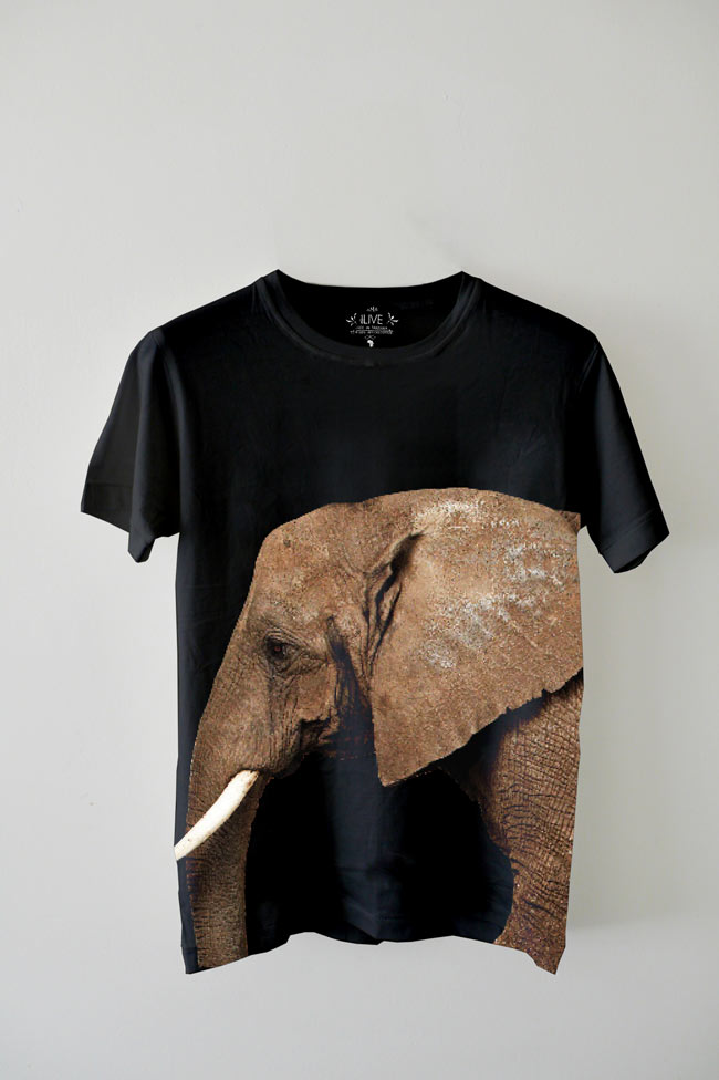 EDUN Elephant T shirt black EDUN Collaborates with Ryan McGinley for T Shirt Celebrating the African Elephant